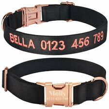 Personalised Dog Collar Custom Engraved or Embroidered Puppy Collars Male Female