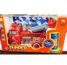 New Fire Engine Truck Bubble Machine Blower Solution Great Xmas Children Gift