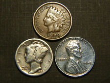 Authentic Mercury Dime 90% SILVER & Steel Penny &100 Years old Indian Head Penny