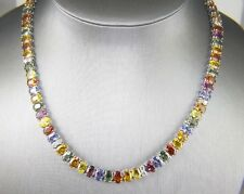 Beautiful Oval Cut Multi-Color Sapphire Tennis Necklace 14K White Gold 69.46Ct