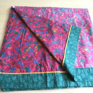 Vintage 80s Cannon King Flat Sheet Purple Green Floral Mid Century Modern USA