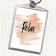 Watercolour Bold Relax Quote Bag Tag Keychain Keyring
