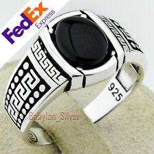 Turkish Handmade 925 Sterling Silver Onyx Stone Meander Key Men's Ring All Sizes