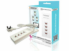 Addon ADDSC400 Universal 4 Ports USB Smart Charger Dock with UK Power Adapter