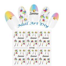 Summer-Nail Art Water Transfer Stickers-Decal-ESTATE-PALME-Adesivi per Manicure!