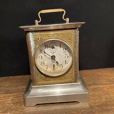 Vtg Antique Clock Mauthe German Carriage Mantel Key Wound Germany Working