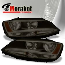 For 11-16 VW Jetta Crystal Replacement Smoke Headlights Amber Reflector Lamps