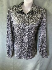 VTG 80's Loubella Blouse Size 10 Satin Career Monochrome Feather Print Dressy