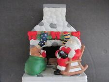 Partylite Christmas Fireside Santa Ceramic Tea lite Candle Holder #Po457