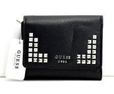 GUESS Gabi Womens Faux Leather Trifold Silver Stud Wallet Purse Black