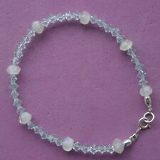 "Bracelet With Moonstone Gems And Blue Crystal  7"".5 In. Long 925 Silver Clasps"