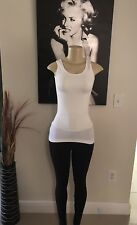 F & F White One Size Active Ribbed Knit Tank Top Womens Yoga Sport