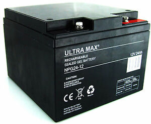 12V 24AH (26AH, 27AH, 28AH) Ultra Max NPG 24-12 GEL Mobility Vehicles Battery