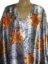 Up2date Fashion Caftan with Surreal Flowers in Wind Print, One Size Plus, Caf-47