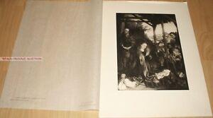 MARTIN SCHONGAUER - ANBETUNG DER HIRTEN *  RARE GERMAN PHOTOGRAVURE 1900