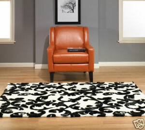 BLACK AND WHITE FLORAL CURLICUE FAUX FUR RUG 5x7 NEW - MADE IN FRANCE - NON-SLIP