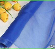 100% Pure Silk Organza Fabric Royal Blue Yardage Tutu Gauz Tulle Material Sheer