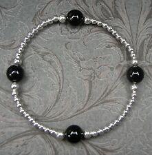NEU 925 Silber ARMBAND 8mm ONYX EDELSTEINE schwarz EDELSTEIN elastisch