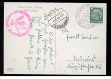 1936 Germany Hindenberg Zeppelin postcard cover Olympic