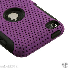 APPLE iPOD TOUCH 4 DUAL LAYER HYBRID HARD CASE SKIN COVER ACCESSORY PURPLE