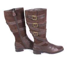 #9S Jana Damen Stiefel Boots Leder braun Gr. 40 (6,5 G) Biker-Look Schnallen