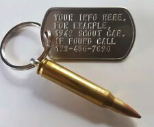 M 16 , 223, AR15 bullet key chain  Custom Embossed Authentic Military Dog Tag