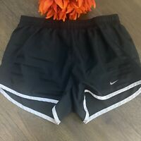 Nike Womens Dri-Fit Size XS Tempo Running Shorts w/Brief Liner Black Elastic