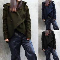 UK 8-24 Womens Hoodies Sweatshirt Long Sleeve Asymmetric Hem Tops Coat Jacket