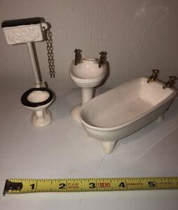 Vintage Shackman Porcelain Dollhouse Bathroom Sink Tub Toilet
