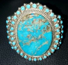 Massive Sterling Silver Native American Bisbee Turquoise Cuff Bracelet 104g .925