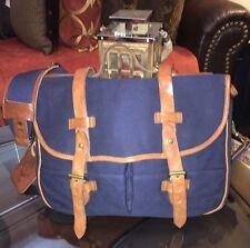 Ralph Lauren Canvas & Leather Commuter Messenger Bag Navy Blue