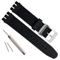 19mm Replacement Waterproof Silicone Rubber Watch Strap Watch Band Black NEW