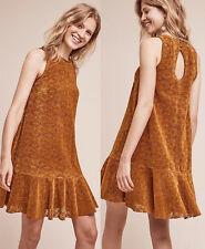 ANTHROPOLOGIE Maeve NWT Amis Lace Dress Dark Orange Lasercut Ruffle Sz 0P $158