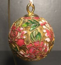 """Christmas ornament - Cloisonne Mauve, pink & green with gold accents  2"""" dia"""