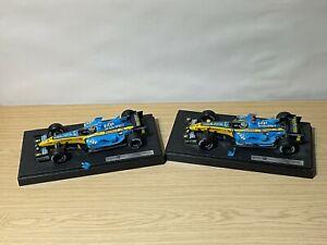 2 x 1/18 Scale Hot Wheels Fernando Alonso Renault F1 Cars R25 & R26
