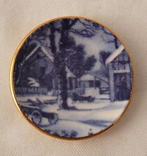 Vtg Dollhouse Miniature Blue Wh Porcelain Plate Snow Barn Artisan Marie Friedman