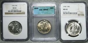 1944 1945 x2 Walking Liberty Half Silver -- MS-65 Slabbed ICG NGC --- #873