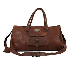 """20"""" GVB Leather Travel Men Duffle Vintage Holdall Luggage Overnight (Dark Brown)"""