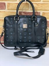 100% Authentic MCM Black Visetos 2way Messenger + Laptop Hand and Crossbody Bag