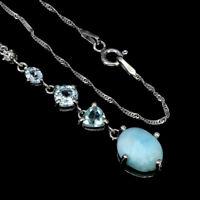Unheated Oval Larimar 10x8mm Sky Blue Topaz Cz 925 Sterling Silver Necklace 18