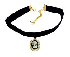 Gold Black Velvet Cameo Pendant Stretch Choker Necklace Women Dress Goth Jewelry