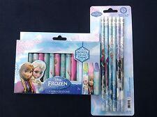 Disney Frozen Anna & Elsa 12 Jumbo Crayons and 6 Pack Pencil Set School Supplies