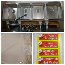 4 Large Compartment Concession Sinks, VALUE SET 3 Dish & 1 Hand Washing Sink