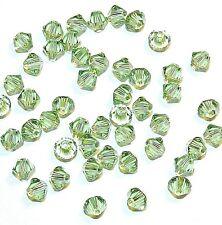 SCB342f Peridot Green 4mm Xilion (5328) Bicone Swarovski Crystal Beads 48pc