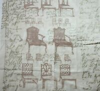 Folia Gold French Script Victorian Chair Fabric Sepia Shimmer 54x 52 Renaissance