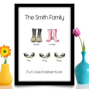 Personalised Birthday gift for Dad Daddy Father family shoes A4 print