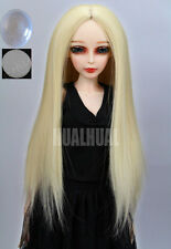 "6-7"" 1/6 BJD Light Blonde Straight Long Wig LUTS Doll SD DZ Hair Dollfie MSD UAL"