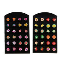 24 Pairs Assorted Cute Fruit Theme Stud Earrings Set School Girls Jewelry