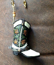 Western Cowboy Boot Ceiling Fan Light Pull Handcrafted / White