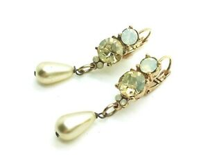 Mariana Earrings Alluring Pearl & Golden Shadow Crystal Swarovski My Treasure...